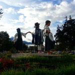 Indigenen Statue am nördlichen Eingang von Otavalo.