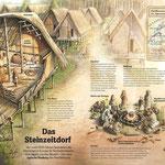Leben im Steinzeitdorf, Aquarell/Zeichnung/Digital; Stern Infografik, 2007