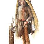 """Die Kleidung des """"Ötzi"""", Aquarell/Zeichnung; Stern Infografik, 2007"""