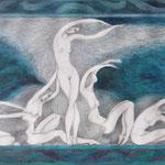Wellen, 45 x 80 cm, Aquarell + Bleistift