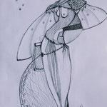 Modezeichnungen, A4,  Kugelschreiber
