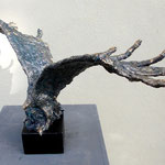 Adler / Eagle, Mixed Media sculptur, Papiermache, bemalt, Enamel bronze, gold