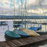 Hafen am Abend, 50 x 50 cm, Oel auf Leinwand