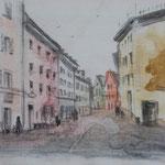 Strasse, Aquarell + Bleistift, (verkauft, sold)