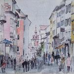 Hauptstrasse, 19 x 24 cm, Aquarell+Tinte