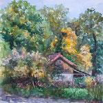 Das Häuschen in Grüne, 34 x 34 cm,