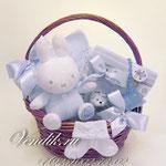 """Подарочная корзина для новорожденного мальчика """"Зайка Бэбби"""""""