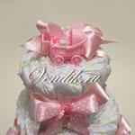 """Торт из памперсов """"Розовое настроение"""" - подарок для девочки"""