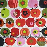 Wollweiß mit Retroäpfeln schwarz/rot/rosa