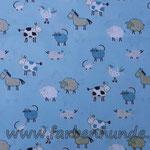 Hellblau mit Bauernhoftieren