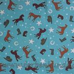 jeansblau mit Westernpferden