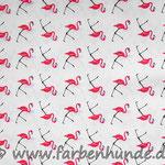 Weiß mit Flamingos
