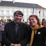 M. Werner und Monika Schmied-Plantikow von Kultur für alle Nürtingen beim Bürgerfest des Bundespräsidenten 2013, Foto: Werner Hierse, Weilheim u. T., alle Rechte vorbehalten!