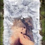 Contracorrent III (Fotografía transferida a madera y pintada con pintura acrílica y adornada con plumas)