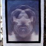 Bilocación (Fotografía transferida a madera y pintada con pintura acrílica. Marco en terciopelo negro) NO DISPONIBLE