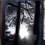 Atardece II (Fotografía transferida a lienzo con retales de terciopelo negro y marco pintado con pintura acrílica negra)