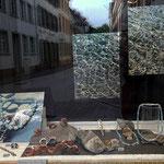 schaufenster ecke mit aquamarin