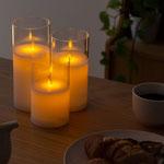 LEDキャンドル ガラスタイプ:120個 炎のように灯りが揺らぎます