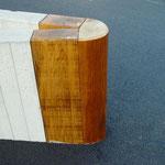 Mur en L + traverses en bois. Réalisation sur mesure