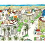 Plaza circular, 38 x 76 cm . Tinta y acuarela/ papel Canson Edition