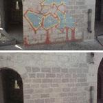 Enlèvement de graffitis sur mur en pierre - Avant