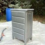 Décapage de peinture sur bois précieux - Avant