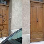 Enlèvement de graffitis sur porte vernis