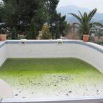 Décapage de la peinture d'une piscine
