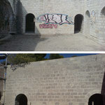 Enlèvement de graffitis sur mur en pierre