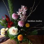 ピンポン菊のお正月アレンジメント