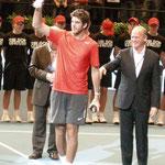 """Runner-up"" Juan Martin del Potro (Argentinien) bei der Preisverleihung"