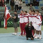 Österreichs Mannschaft beim Abspielen der Hymnen