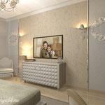Телевизор в интерьере спальни