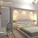 Шкафы встроенные за изголовьем кровати