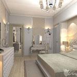 Светлая спальня со шкафами по бокам кровати