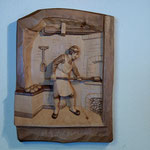 Relief Backstube aus Zirbenholz, 2 farbig gebeizt