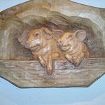 Relief Schweine, coloriert