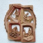 Relief Die vier Jahreszeiten aus Zirbenholz, coloriert