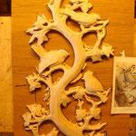 Vogelbaum aus Lindenholz, roh