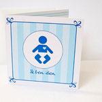 Geburtskarte für einen kleinen Holländer im Stil der Delfter Kachel