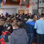 Die Aula während der Schülerbefreiung.