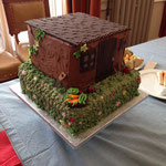Is it a cake, is it a shed? It's a cake shaped like a shed! courtesy of 'The Intolerant Wife' for our opening party