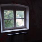 Aus diesem Fenster hat Antoine in den Park seines Châteaus geblickt