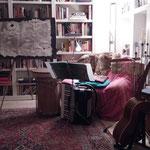Vorbereitung zur Klangskulpturen-Lesung von Andrea Bannert