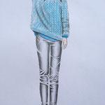 Pullover-Frotage mit Fliegenklatsche, Buntstift