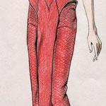 Kleid-Frotage mit Spitze, Buntstift