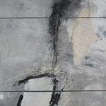 "Bild ""Breeze"", Tripychon, Größe 90 x 180 cm, Acryl, Kohle, Sand, Collage auf Leinwand"