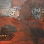 """Bild """"Berlin"""", 120 x 80 cm, Acryl, Collage, Kohle auf Steinwand"""