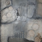 "Bild ""Brush"", Größe 80 x 100 cm, Acryl, Kohle, Collage auf Leinwand"