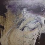 """Bild """"Azuro"""", Dyptychon, Größe 100 x 100 cm, Acryl auf Leinwand"""